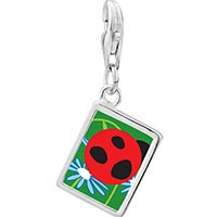 Link Charm Bracelet - 925  sterling silver curious ladybug photo rectangle frame link charm Image.