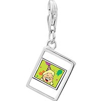 Link Charm Bracelet - 925  sterling silver happy birthday girl photo rectangle frame link charm Image.