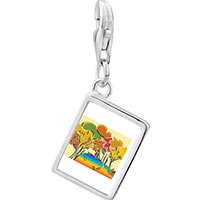 Link Charm Bracelet - 925  sterling silver golden fall autumn photo rectangle frame link charm Image.