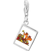 Link Charm Bracelet - 925  sterling silver fall squirrel fun photo rectangle frame link charm Image.