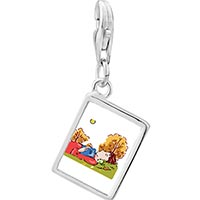 Link Charm Bracelet - 925  sterling silver boy sleeping in autumn photo rectangle frame link charm Image.