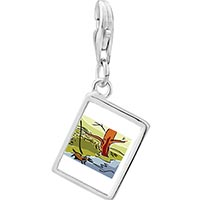 Link Charm Bracelet - 925  sterling silver autumn creek river photo rectangle frame link charm Image.