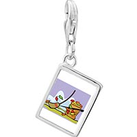 Link Charm Bracelet - 925  sterling silver fall autumn yardwork photo rectangle frame link charm Image.