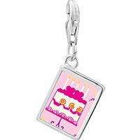 Link Charm Bracelet - 925  sterling silver pink heart birthday cake photo rectangle frame link charm Image.
