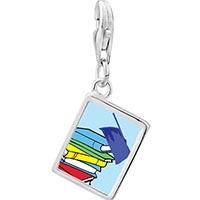 Link Charm Bracelet - 925  sterling silver graduation books photo rectangle frame link charm Image.