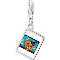 Link Charm Bracelet - 925  sterling silver jack o lantern halloween pumpkin candy corn photo rectangle frame link charm Image.