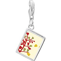 Link Charm Bracelet - 925  sterling silver autumn fall tree photo rectangle frame link charm Image.