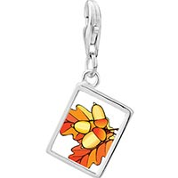 Link Charm Bracelet - 925  sterling silver autumn fall acorn leaves photo rectangle frame link charm Image.