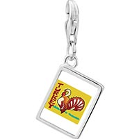 Link Charm Bracelet - 925  sterling silver turkey photo rectangle frame link charm Image.