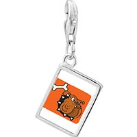 Link Charm Bracelet - 925  sterling silver bulldog dog photo rectangle frame link charm Image.