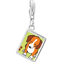 Link Charm Bracelet - 925  sterling silver beagle dog photo rectangle frame link charm Image.