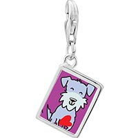 Link Charm Bracelet - 925  sterling silver schnauzer dog photo rectangle frame link charm Image.