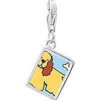 Link Charm Bracelet - 925  sterling silver cocker spaniel dog yellow photo rectangle frame link charm Image.