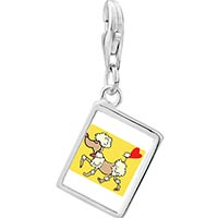 Link Charm Bracelet - 925  sterling silver toy poodle dog photo rectangle frame link charm Image.