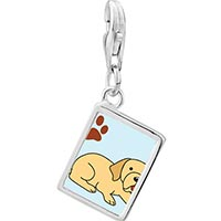 Link Charm Bracelet - 925  sterling silver yellow labrador dog photo rectangle frame link charm Image.