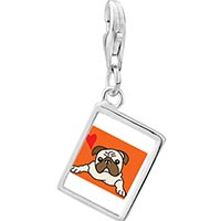 Link Charm Bracelet - 925  sterling silver pug dog photo rectangle frame link charm Image.