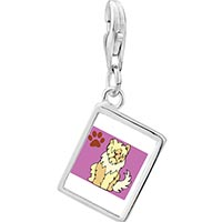 Link Charm Bracelet - 925  sterling silver sheepdog animal photo rectangle frame link charm Image.