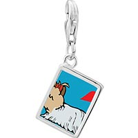 Link Charm Bracelet - 925  sterling silver yorkshire terrier dog white photo rectangle frame link charm Image.