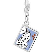 Link Charm Bracelet - 925  sterling silver grin dalmatian dog photo rectangle frame link charm Image.