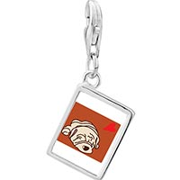Link Charm Bracelet - 925  sterling silver shar pei dog white photo rectangle frame link charm Image.