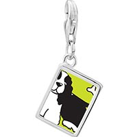 Link Charm Bracelet - 925  sterling silver springer spaniel dog photo rectangle frame link charm Image.