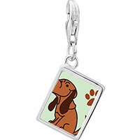 Link Charm Bracelet - 925  sterling silver blood hound dog photo rectangle frame link charm Image.