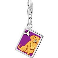 Link Charm Bracelet - 925  sterling silver golden retriever dog photo rectangle frame link charm Image.