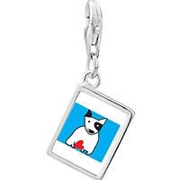 Link Charm Bracelet - 925  sterling silver bull terrier dog photo rectangle frame link charm Image.