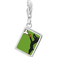 Link Charm Bracelet - 925  sterling silver doberman dog photo rectangle frame link charm Image.