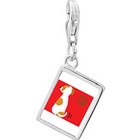 Link Charm Bracelet - 925  sterling silver jack russell terrier dog photo rectangle frame link charm Image.