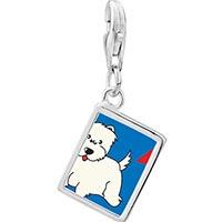 Link Charm Bracelet - 925  sterling silver westie dog photo rectangle frame link charm Image.