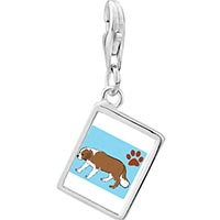 Link Charm Bracelet - 925  sterling silver saint bernard dog photo rectangle frame link charm Image.
