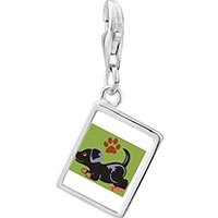 Link Charm Bracelet - 925  sterling silver rottweiler black photo rectangle frame link charm Image.