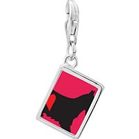 Link Charm Bracelet - 925  sterling silver scottie dog photo rectangle frame link charm Image.