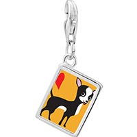 Link Charm Bracelet - 925  sterling silver chihuahua dog photo rectangle frame link charm Image.
