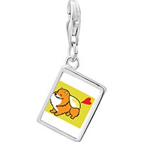 Link Charm Bracelet - 925  sterling silver pomeranian dog photo rectangle frame link charm Image.