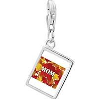 Link Charm Bracelet - 925  sterling silver mom autumn leaves photo rectangle frame link charm Image.