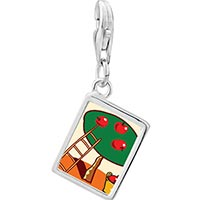 Link Charm Bracelet - 925  sterling silver apples on tree photo rectangle frame link charm Image.