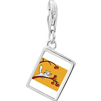 Link Charm Bracelet - 925  sterling silver cat plays with apples photo rectangle frame link charm Image.