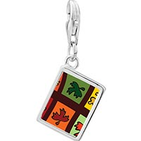 Link Charm Bracelet - 925  sterling silver multicolored autumn leaves photo rectangle frame link charm Image.