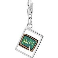 Link Charm Bracelet - 925  sterling silver alphabet chalkboard photo rectangle frame link charm Image.
