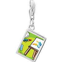 Link Charm Bracelet - 925  sterling silver drawing and painting photo rectangle frame link charm Image.