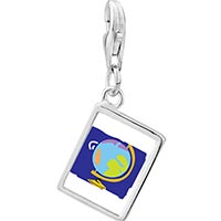 Link Charm Bracelet - 925  sterling silver globe map photo rectangle frame link charm Image.