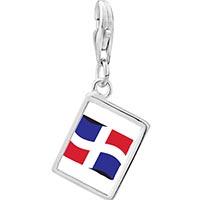 Link Charm Bracelet - 925  sterling silver dominica flag photo rectangle frame link charm Image.