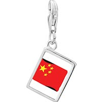 Link Charm Bracelet - 925  sterling silver china flag photo rectangle frame link charm Image.