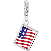 Link Charm Bracelet - 925  sterling silver usa flag photo rectangle frame link charm Image.