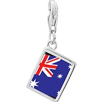 Link Charm Bracelet - 925  sterling silver australia flag photo rectangle frame link charm Image.