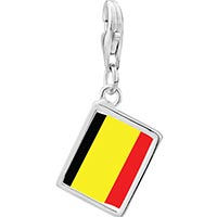 Link Charm Bracelet - 925  sterling silver belgium flag photo rectangle frame link charm Image.