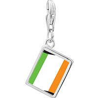 Link Charm Bracelet - 925  sterling silver ireland flag photo rectangle frame link charm Image.