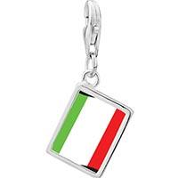 Link Charm Bracelet - 925  sterling silver italy flag photo rectangle frame link charm Image.